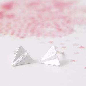 🎉 Silver Plated Paper Airplane Stud Earrings